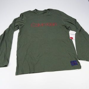 Calvin Klein Mens Green Monogram Crew Neck Sweater